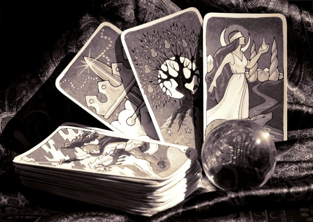 hand drawn Tarot cards and crystal ball
